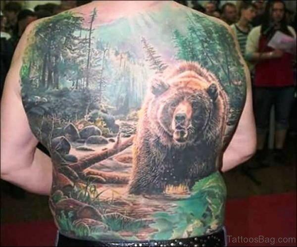 African Bear Tattoo On Back