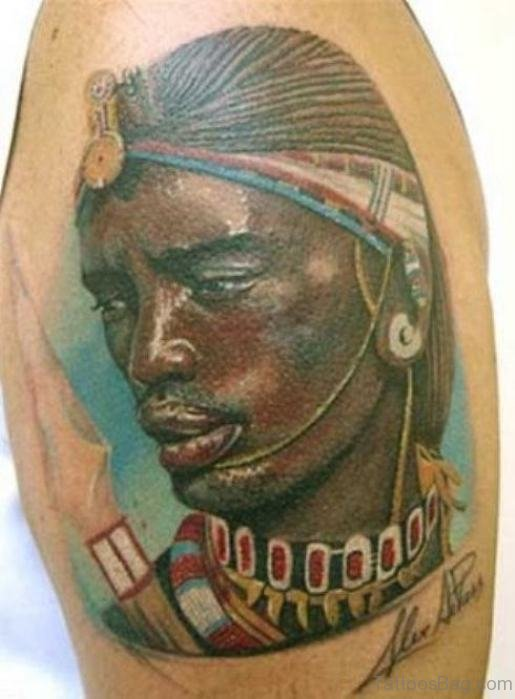 African King Tattoo On Shoulder