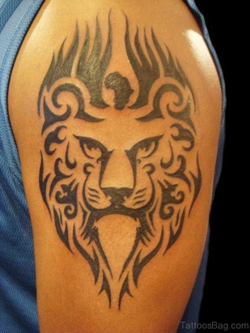 African Lion Tattoo On Shoulder