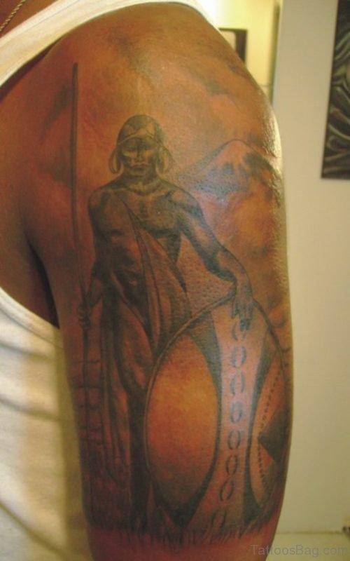 African Warrior Tattoo On Shoulder