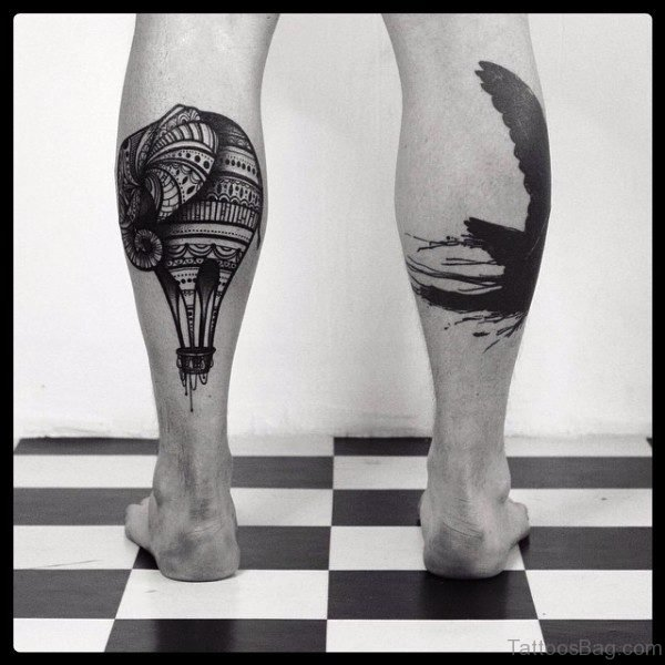 Air Balloon Tattoo On Calf