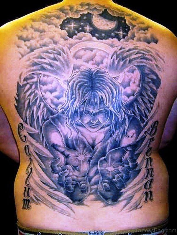 Alien Angel Tattoo On Back