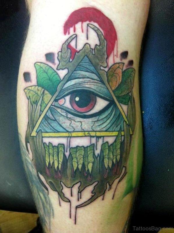 All Seeing Eye Tattoo On Leg