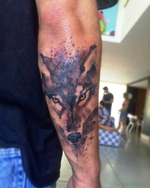 Alpha Wolf Tattoo On Back Arm