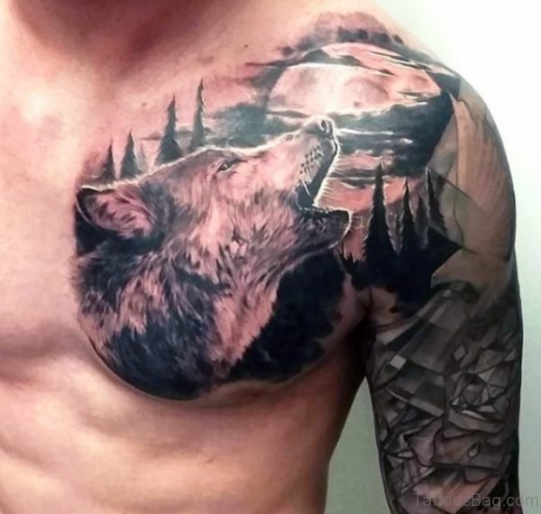 Alpha Wolf Tattoo On Chest