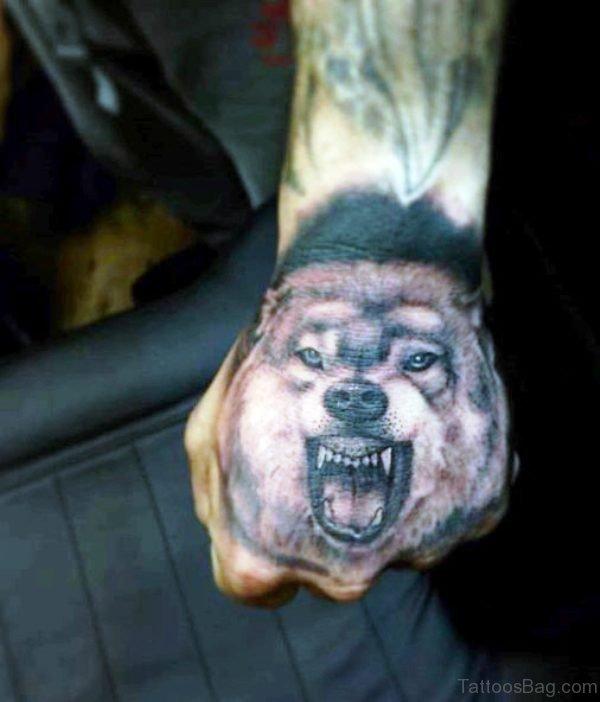Alpha Wolf Tattoo On Hand