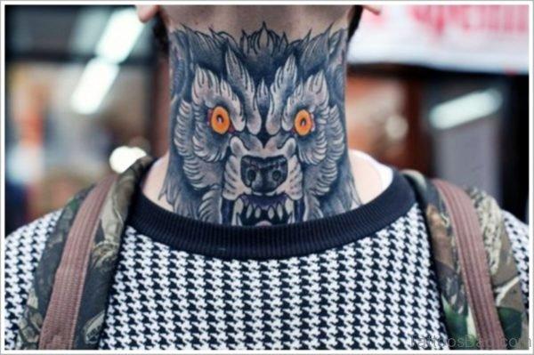 Alpha Wolf Tattoo On Neck