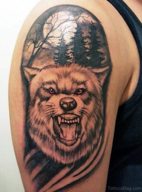 Alpha Wolf Tattoo On Shoulder