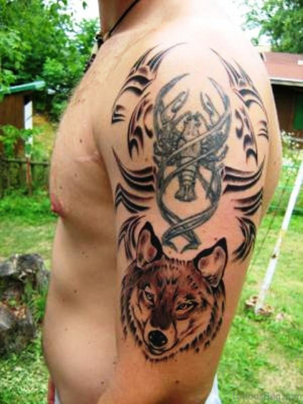 Alpha Wolf With Crab Tattoo