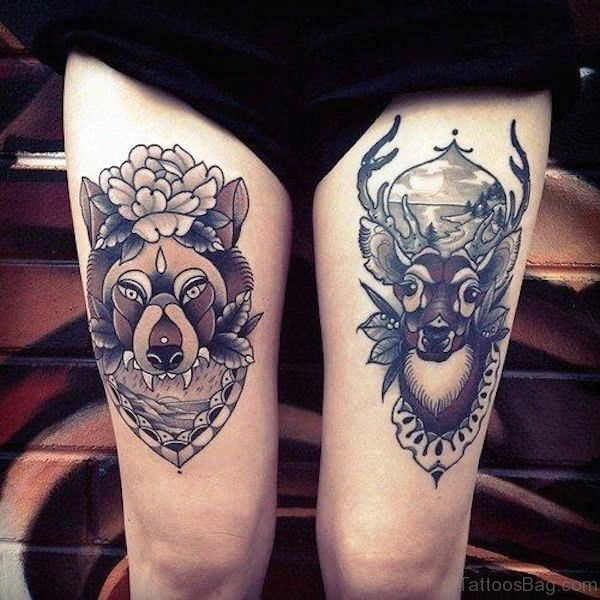 Alpha Wolf With Deer Tattoo Design On Thigh