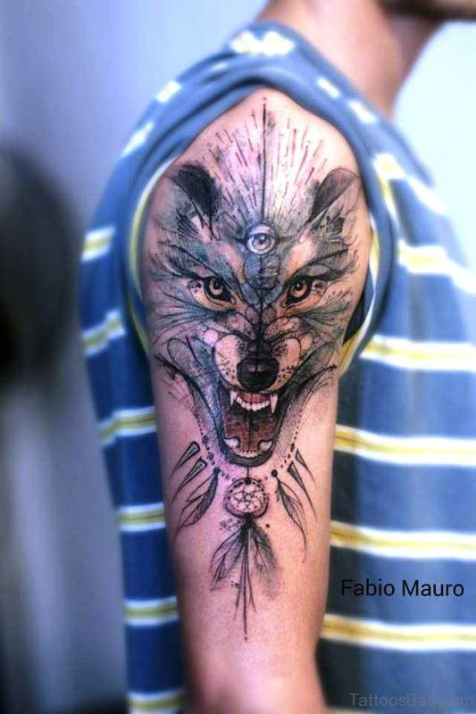 Alpha Wolf With Eye Tattoo On Shoulder