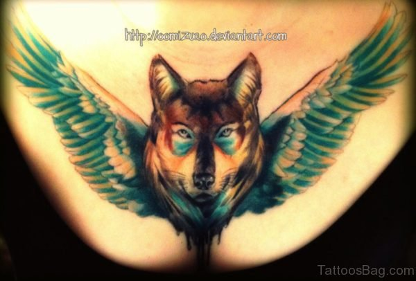 Alpha Wolf With Wings Tattoo Design