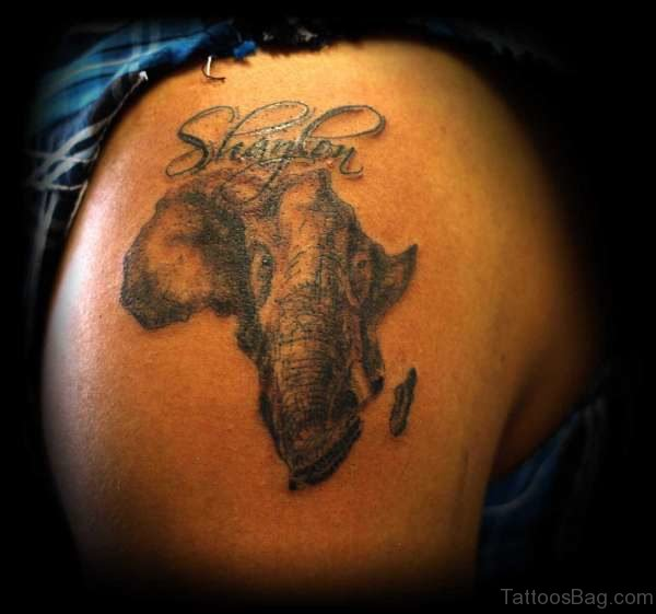 Amazing African Elephant Face Tattoo On Shoulder