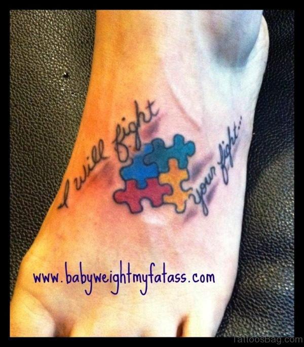 Amazing Autism Tattoo On Foot