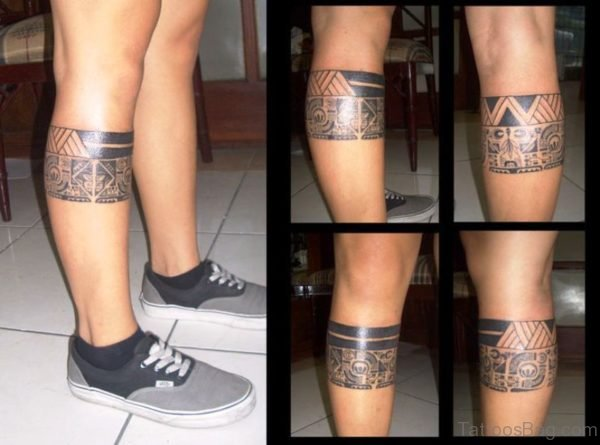 Amazing Band Tattoo On Leg
