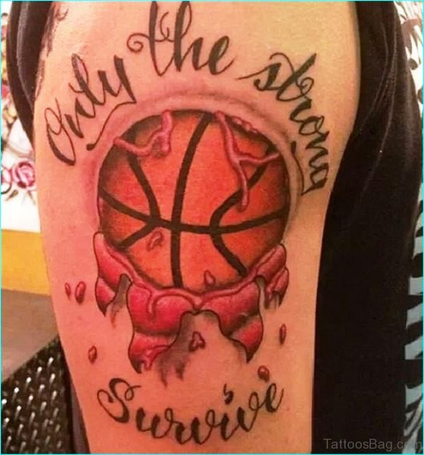 Amazing Basketball Tattoo On Shoulder
