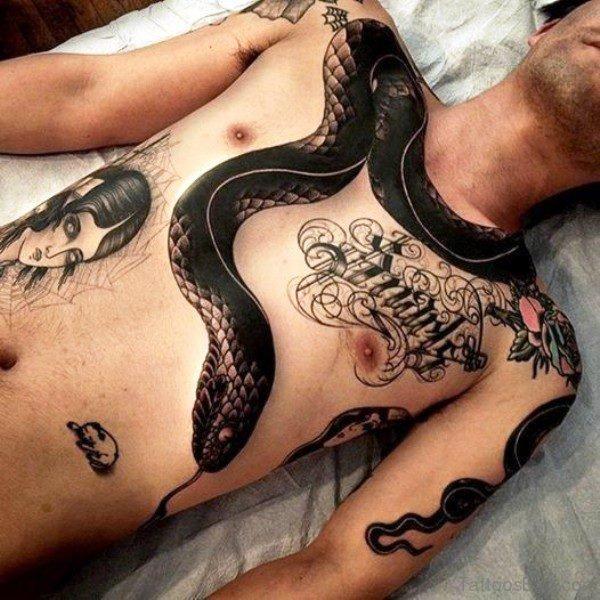 Amazing Black Snake Tattoo On Chest