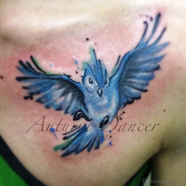 Amazing Blue Bird Tattoo On Chest