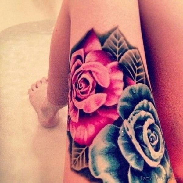Amazing Blue Rose Tattoo On Thigh
