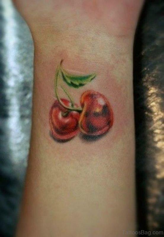 Amazing Cherry Wrist Tattoo