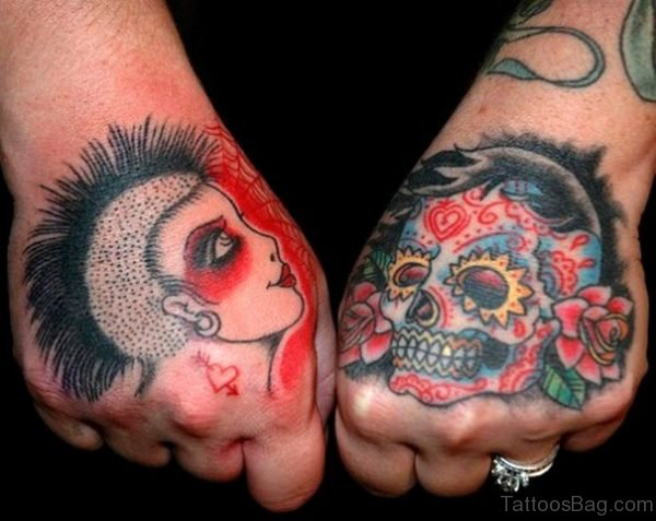Amazing Colored Sugar Skull Tattoos On Both Hands