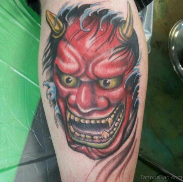Amazing Devil Hannya Mask Tattoo On Leg