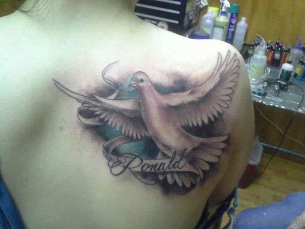 Amazing Dove Tattoo On Back