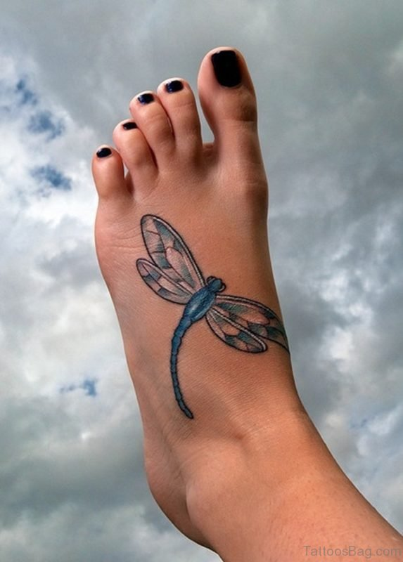 Amazing Dragonfly Tattoo On Foot