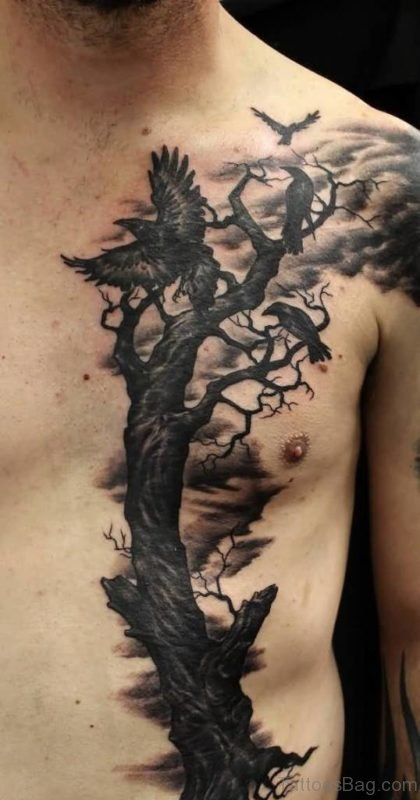 Amazing Dry Tree And Raven Tattoo On Men Chest