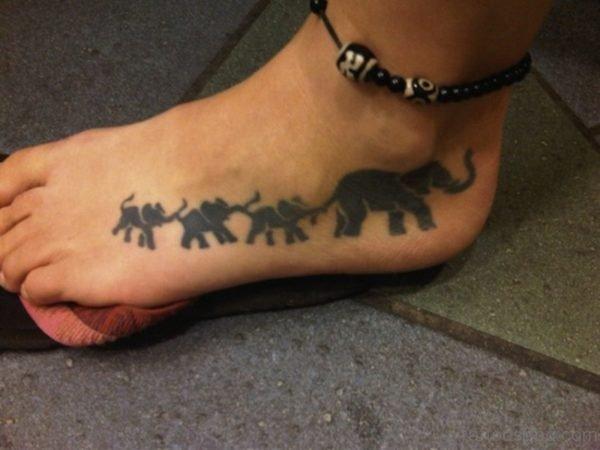 Amazing Elephant Tattoo On Foot