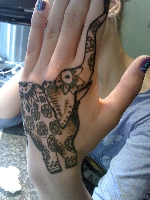 Amazing Elephant Tattoo On Hand