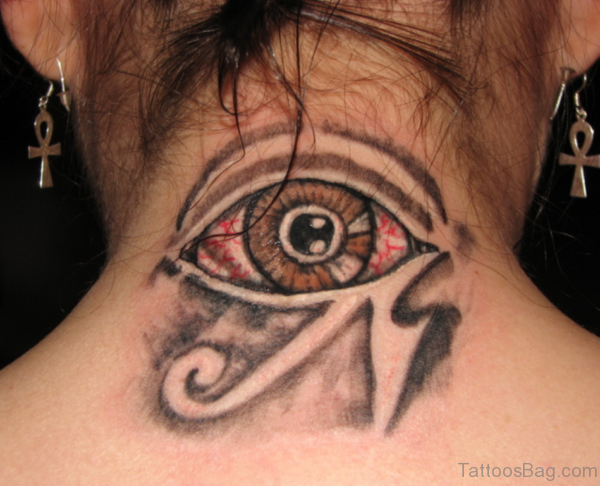 Amazing Eye Tattoo On Nape