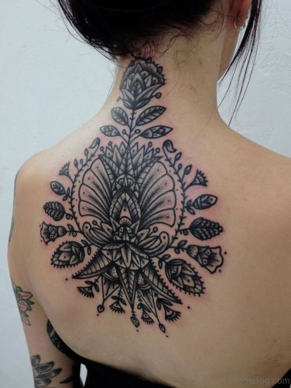 Amazing Floral Mandala Neck Tattoo