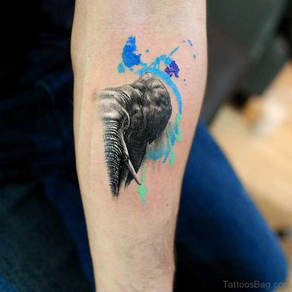Amazing Forearm Elephant Tattoo