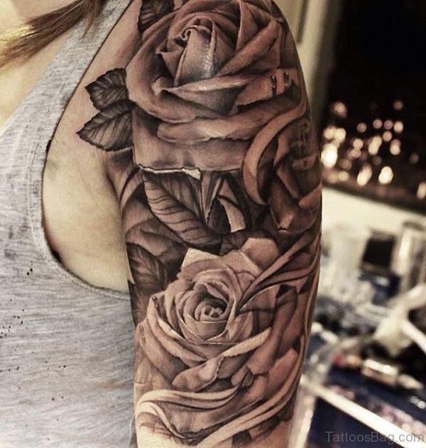 Amazing Grey Roses Tattoo