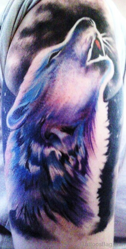 Amazing Howling Alpha Wolf Tattoo Design