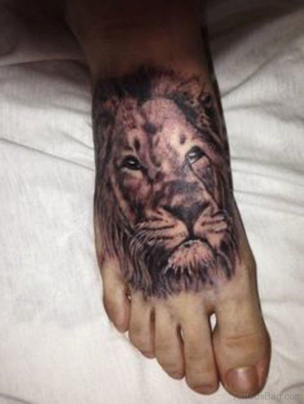 Amazing Lion Tattoo On Foot