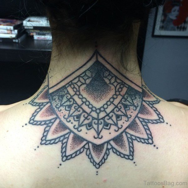 Amazing Mandala Tattoo On Neck