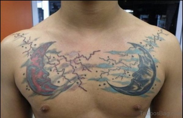 Amazing Moon Tattoo On Chest