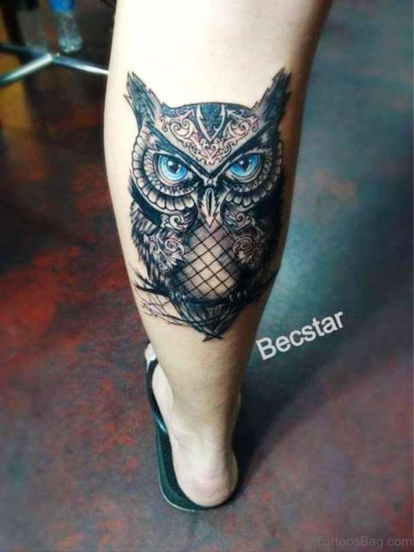 Amazing Owl Tattoo On Calf