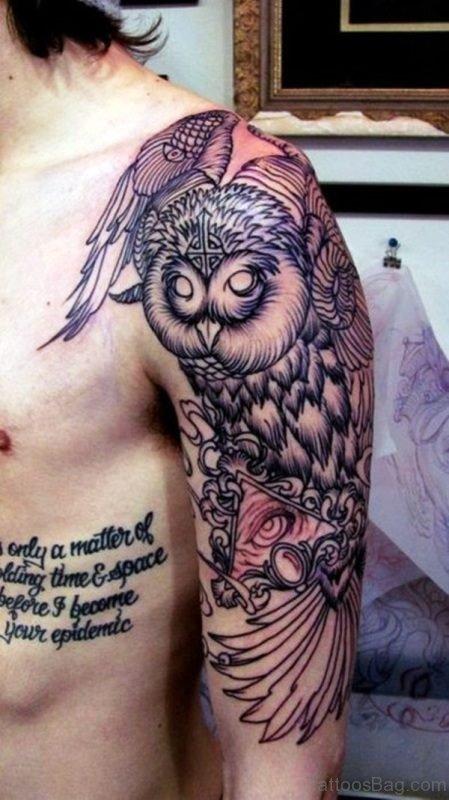 Amazing Owl Tattoo On Shoulder