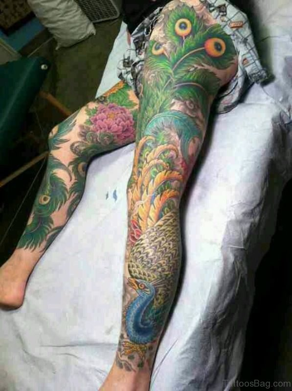 Amazing Peacock Tattoo On Leg