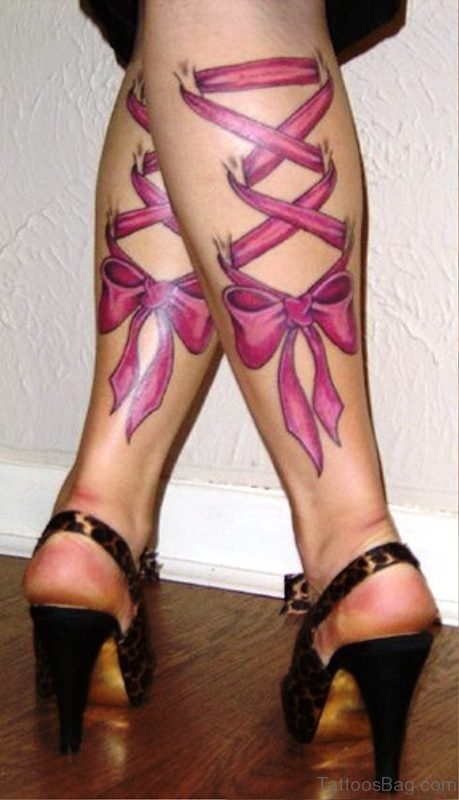 Amazing Pink Corset Tattoos On Both Legs