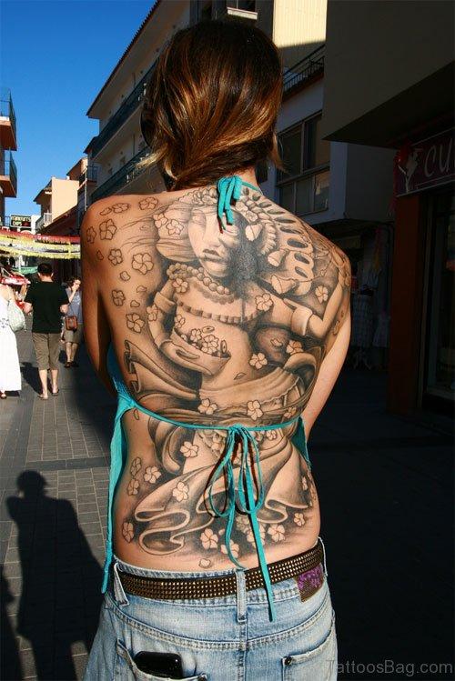 Religious Tattoo On Back Body
