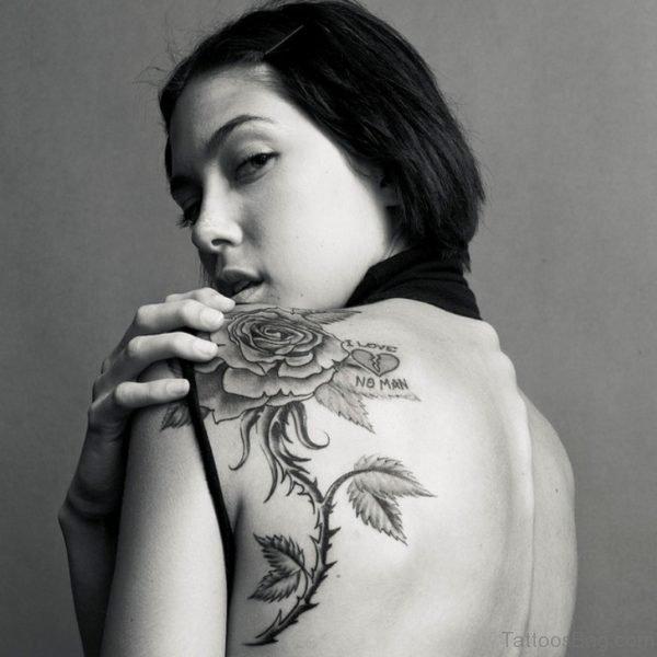 Amazing Rose Tattoo On Back