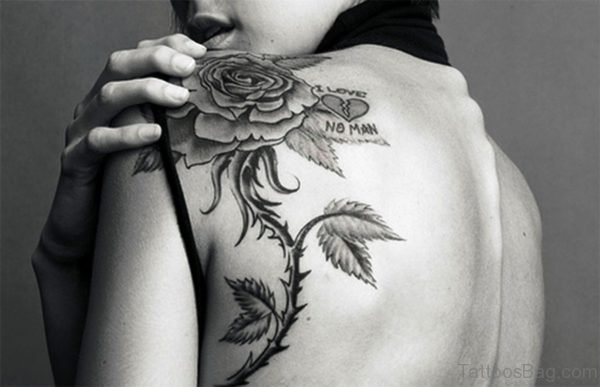 Amazing Rose Tattoo On Back Shoulder 1