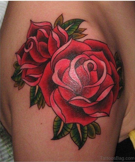 Amazing Rose Tattoo On shoulder
