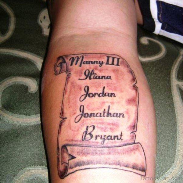 Amazing Scroll Tattoo On Arm
