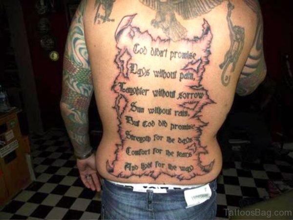 Amazing Scroll Tattoo On Back