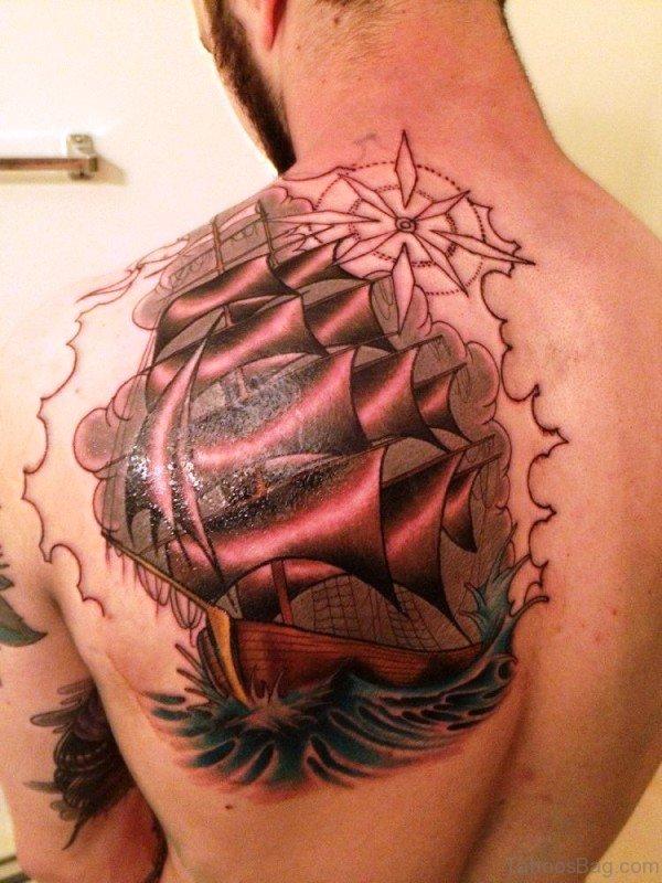 Amazing Ship Tattoo On Shoulder